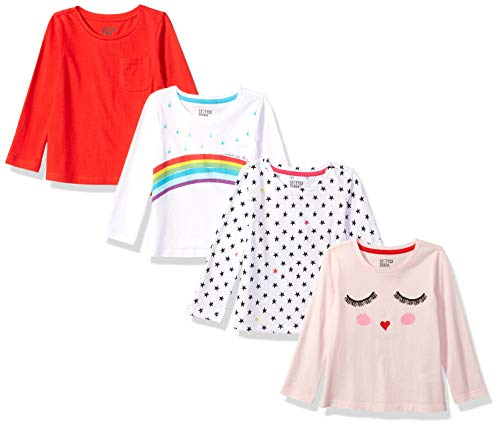 Price comparison product image Spotted Zebra Toddler Girls' 4-Pack Long-Sleeve T-Shirts, Rainbow Smiles, 4T
