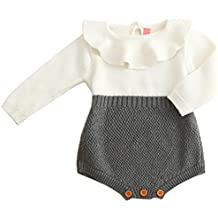 BANGELY Baby Girl Wool Knit Sweater Romper Princess Ruffle Knitted Onesies Jumpsuit