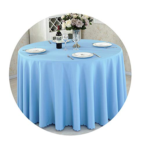 COOCOl Great Round Tablecloth Camping Table Cloth White Table Linen Hotel Party Wedding Tablecloth Dining Cover,Sky Blue,Round 180Cm Diameter
