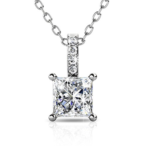 BlingGem Platinum-Plated Swarovski Zirconia Necklace with Solitaire Round Cut Pendant Fine Jewelry Xmas Gifts for Women and Girls (Style 4) ()