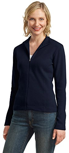Port Authority Ladies Flatback Rib Full Zip Jacket  Navy  Large
