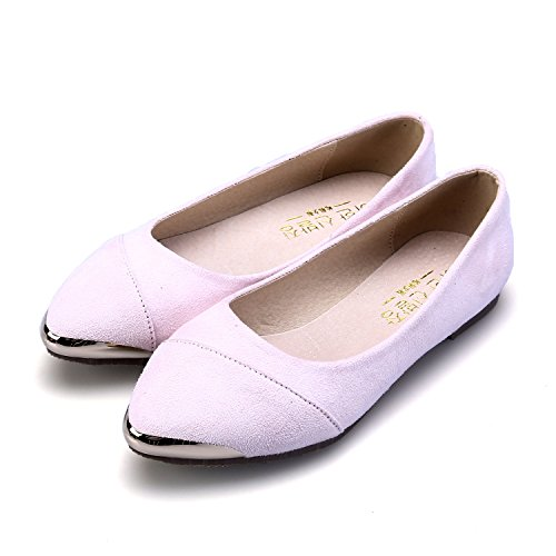Smilun Damen Ballerina Flach Klassische Ballett Glänzende Metall Spitze Pink