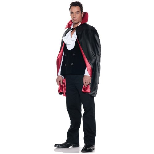 [Deluxe Reversible Satin Cape, 45-Inches, Black/Red, One Size] (Dracula Costume For Men)