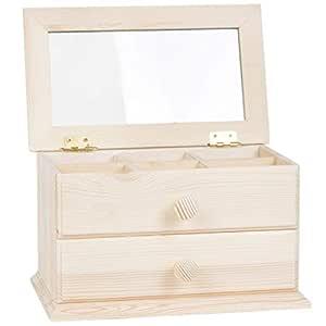 BARTU holzkomode 1 cajón Tapa de Cristal 6 Compartimentos Reloj ...