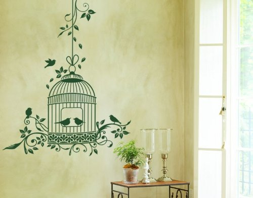 - Romantic Bird Cage Wall Decal by Style & Apply - highest quality wall decal, sticker, mural vinyl art home decor - 4757 - Sage, 45in x 55in