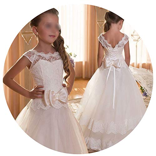 Kids Bridesmaid Flower Girls Dresses for Party and Wedding Dress Girls Easter Children Pageant Gown Girls Princess Dress,White,10