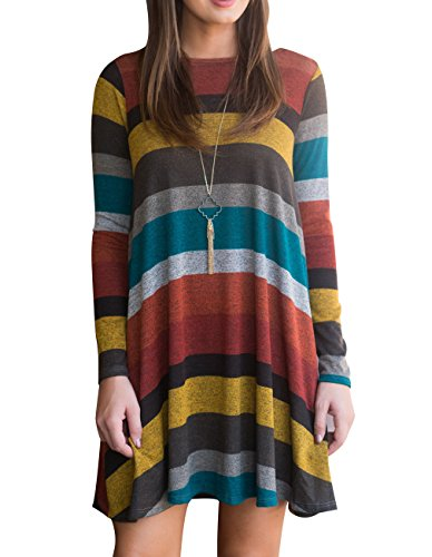 8cb2cfc78229 OLYR Women s Striped Shirt For Leggings Casual Long Sleeve Swing Tunic Shirt  Dress With Pockets