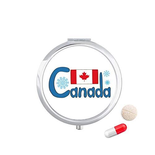 LLgLOOhoOPPPJDh Canada National Flag Blue Pattern Travel Pocket Pill case Medicine Drug Storage Box Dispenser Mirror Gift