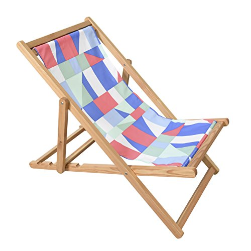 Astella Adjustable Wooden Cabana Beach Chair, Multi Color Geo (Cabana Lounge Beach)