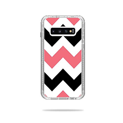 Price comparison product image MightySkins Skin Compatible with Lifeproof Next Case Samsung Galaxy S10+ - Black Pink Chevron / Protective,  Durable,  and Unique Vinyl Decal wrap Cover / Easy to Apply,  Remove / Made in The USA