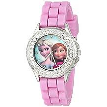 Disney Kids' FZN3554 Reloj para niña con personajes Anna y Elsa de la película Frozen, cristales decorativos y brazalete rosado con escarcha