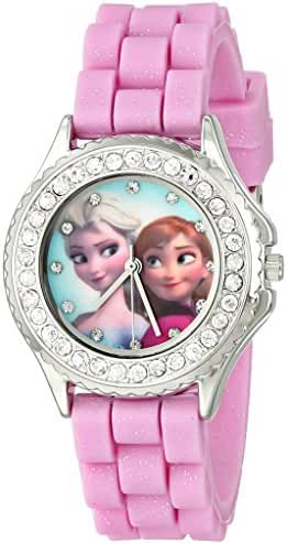 Disney Kids' FZN3554 Frozen Anna and Elsa Rhinestone-Accented Watch with Glittered Pink Band