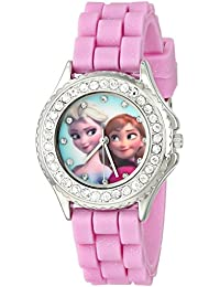 Kids' FZN3554 Frozen Anna and Elsa Rhinestone-Accented Watch with Glittered Pink Band