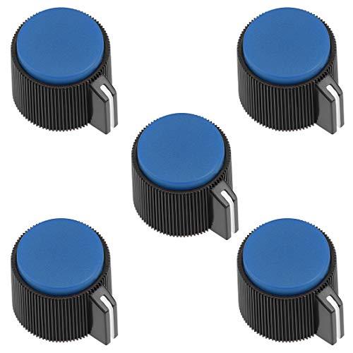 uxcell 5Pcs 19x16mm Bakelite Potentiometer Volume Control Rotary Knob Blue,for 6mm Diameter Shaft Guitar Volume Knob.