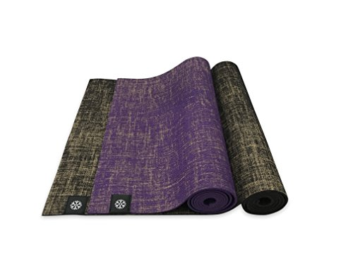 """Cheap IcyFit 2in1 Reversible Natural Jute Yoga Mat with Carry Straps, 72"""" x 24"""" x 5mm, Eco-Friendly, No-slip (Brown)"""