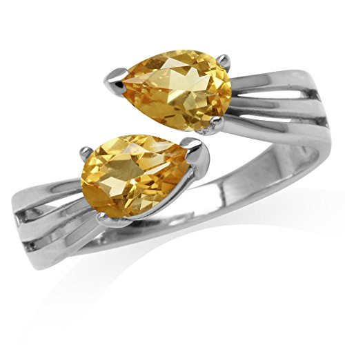1.26ct. Natural Pear Shape Citrine White Gold Plated 925 Sterling Silver Bypass Ring Size 7