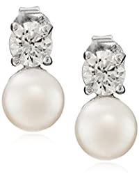Sterling Silver White Button Freshwater Cultured Pearl and Swarovski Zirconia Earrings