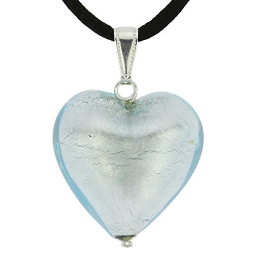 (GlassOfVenice Murano Glass Heart Pendant - Silver Ice )