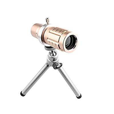 Powstro Universal 12X Zoom Telescope Phone Camera Lens Clip-on Cell Phone Lens kit with iPhone 6/6s Plus Case & Tripod & Clip for iPhone Samsung HTC Mobile Phones - Golden Color