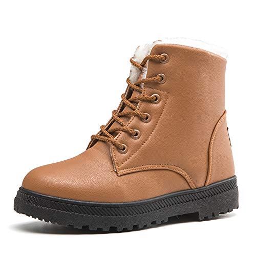Lacets Bozevon Bottes Chaussures Femme Combat 2 Bout Style Talon À Boots Neige Impermeabilisant Bottines Noir De Rond xEFnPrSEf