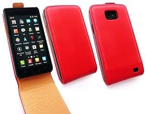 Emartbuy® Samsung Galaxy S2 I9100 De Lujo De La Pu Del Cuero Del Tirón Del Caso / Cubierta / Bolsa Rojo / Tan