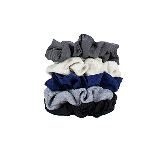 Kitsch Velvet Scrunchies for Hair, Hair Scrunchies for Women, Scrunchy Hair Bands, 5 Pack (Black/Grays)