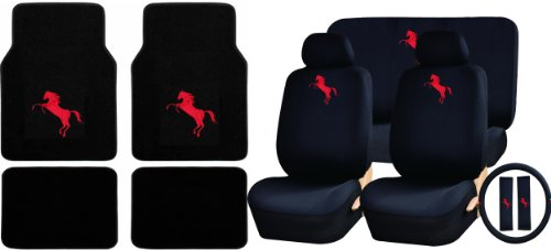 U.A.A. INC. 26pc Red Mustang Pony Logo Carpet Floor Mats & Low Back Seat Covers, Rear Bench Cover, Steering Wheel Cover & Shoulder ()