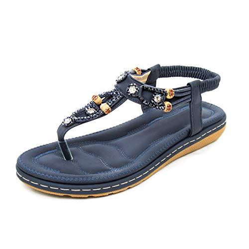 - zeetoo Flat Sandals for Women Casual Clip Toe Sandals Bohemia Rhinestone Flower Beaded Comfort T-Strap Sandals Navy Blue 9.5 B(M) US