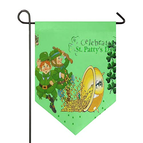 Crazy Happy Saint Patrick's Day Garden Flag Outdoor Banner Decorative Large House Polyester Flags for Wedding Party Yard Home Decor Season Porch Lawn Double Sided 28 x 40 -