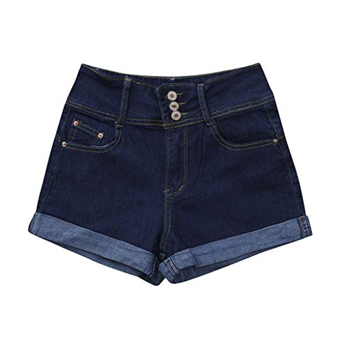 Women's Juniors Stretch Denim Shorts Fashion Ripped Hole Button Mini Jeans Pants (Navy 1, XL)