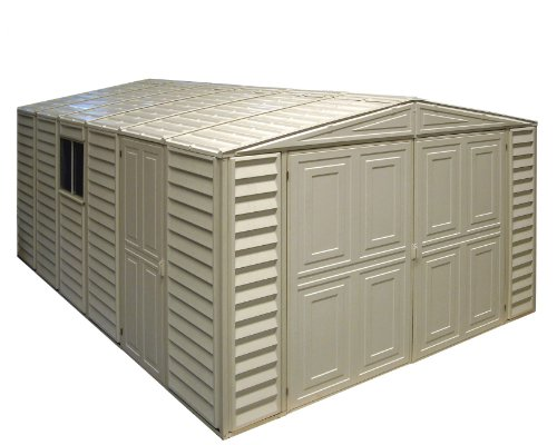 Duramax 01014 Vinyl Garage Shed with Foundation and Window, 10 by 15.5-Inch (Vinyl Usa Duramax Shed)