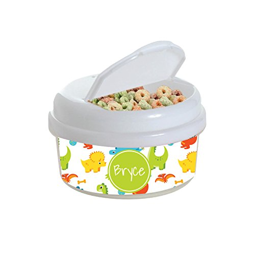 (Multicolored Dinosaurs Personalized Snack Container)