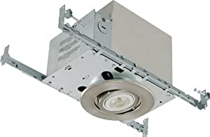 Liteline Corporation RC40518R-LED-PC-BN All-in-One 4-Inch LED Recessed Combo with Insulated Ceiling Housing, 8W LED PAR20 lamp, Gimbal Trim, Brushed Nickel