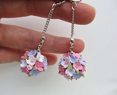 Dangle Floral Bridal Set (Handmade Ball earrings Floral drop dangle White pink lilac lavender earrings Colorful bridal jewelry set Flower ball Wedding Silver Bridesmaid gift FREE SHIPPING)