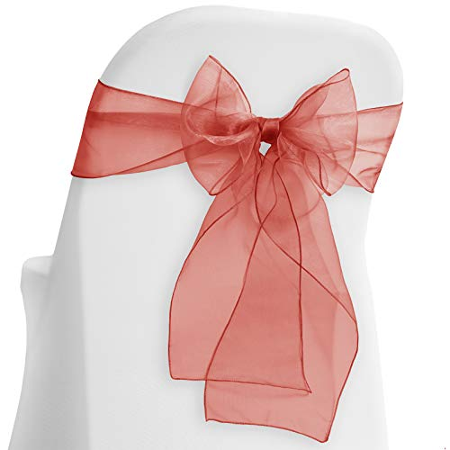 (Lann's Linens - 10 Elegant Organza Wedding/Party Chair Cover Sashes/Bows - Ribbon Tie Back Sash - Burgundy)