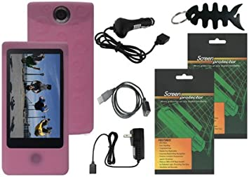 Screen Protector for Sony Bloggie Touch MHS-TS20//MHS-TS10 Car Charger Pink Skin Case Cover 4GB 8GB Travel AC Home Charger iShoppingdeals