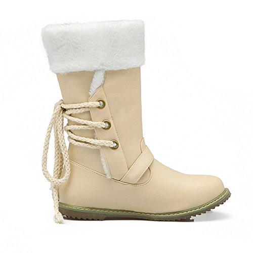 H HDonne in inverno (nero, bianco, beige) davanti pizzo in scarponi da snow boots fibbia indossare scarpe piane respirabili in gomma , Beige , 38