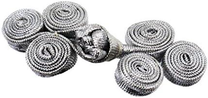 組紐 中国服ボタン チャイナ・ボタン 五個組1セット ワラビ 銀