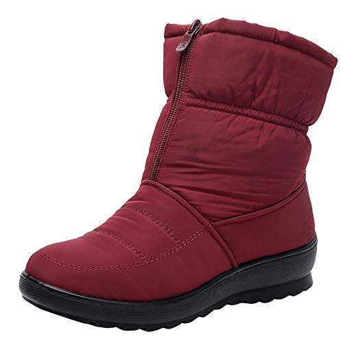 Spring Color  Women's Winter Snow Boots Ankle Booties Slip On Warm Fur Lined Waterproof Anti-Slip Sneaker -