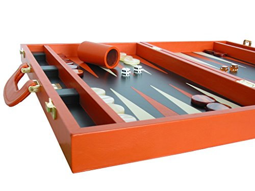 "Leather Backgammon Set by Zaza & Sacci - (20"" Case, Board Game) - Orange"
