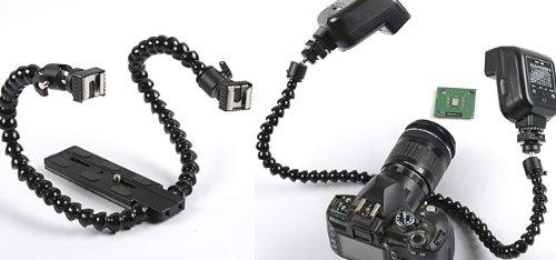 Soporte para flash para macrofotograf/ía DSLRKIT doble brazo, doble zapata, para Canon, Nikon, Sony, Pentax, Olympus, Panasonic, Fujifilm, Leica, Kodak
