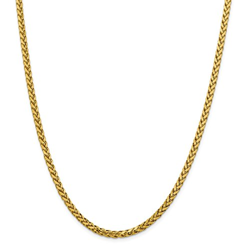 ICE CARATS 14kt Yellow Gold 3.70mm Link Wheat Chain Necklace 22 Inch Pendant Charm Spiga Oval Fine Jewelry Ideal Gifts For Women Gift Set From (Oval Wheat Link)
