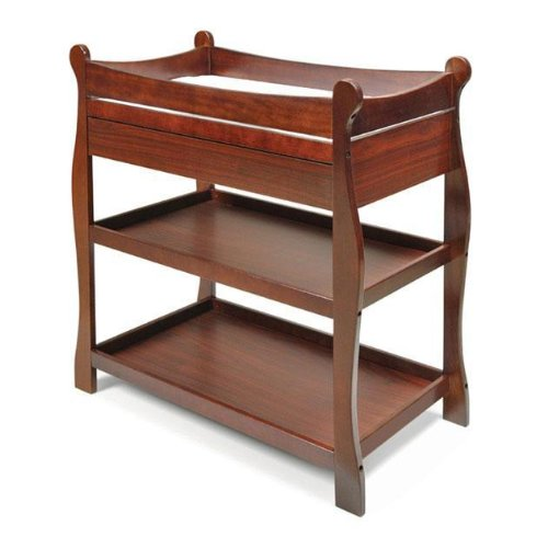 Sleigh-Style Changing Table with Drawers – Cherry