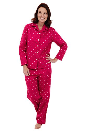 Alexander Del Rossa Womens Cotton Pajamas, Long Woven Pj Set, Medium Strawberry Red with White Polka Dots (A0517Q16MD)