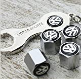 Free Shipping!high Quality Steel Car Air Tire Valve Caps with Keychain Combo Set for Volkswagen