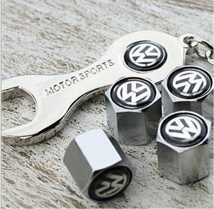 Team Tire Plus (Free Shipping!high Quality Steel Car Air Tire Valve Caps with Keychain Combo Set for Volkswagen)