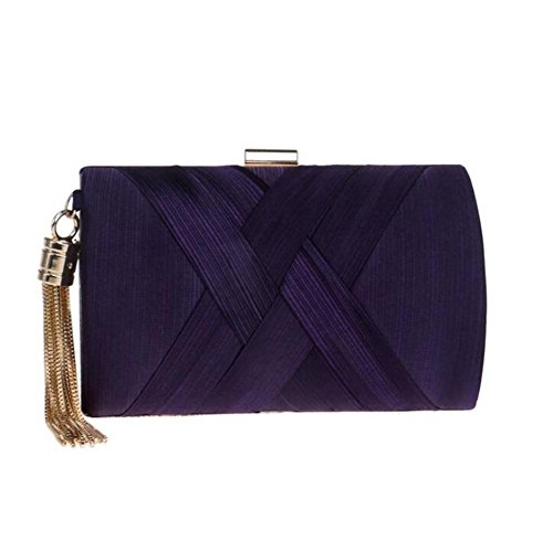 chaîne Party WBAG Soie Dress Femme de à purple Wedding Sac bandoulière Embrayage Sacs en Soirée wUAPqSIUr