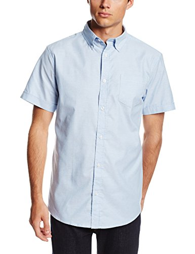 (Lee Uniforms Men's Short Sleeve Oxford Shirt, Light Blue, Medium)