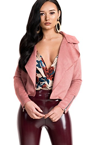 Collarless Suede Jacket - IKRUSH Women's Camilla Faux Suede Waterfall Jacket Size in Rose Size 10