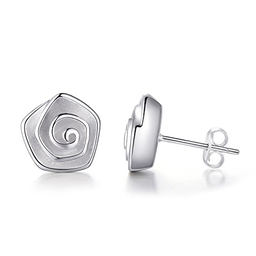 EVERU Flower Stud Earrings Sterling Silver, 4 Styles Options, Rose | Sunflower | Daisy | Lotus (Rose)